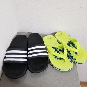 Adidas slides & Gap flip flops
